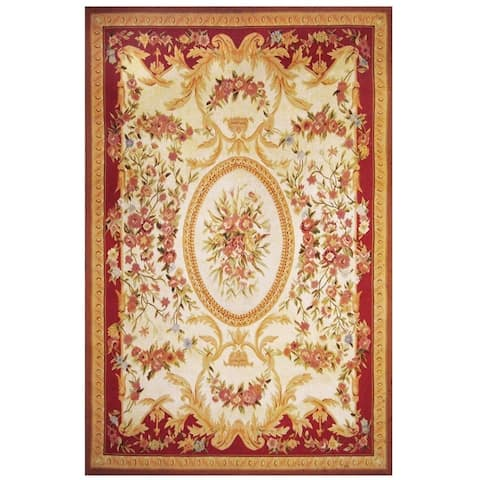 Handmade One-of-a-Kind Aubusson Wool Rug (China) - 5'11 x 9'1