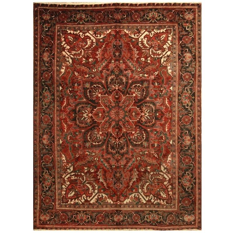 Handmade One Of A Kind Semi Antique 1960 S Heriz Wool Rug Iran 7 10 X 10 6 On Sale Overstock 30874829