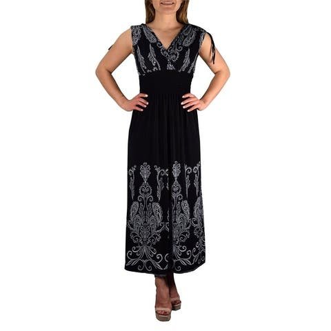 Peach Couture Floral Damask Boho Sleeveless Cocktail Maxi Long Dress