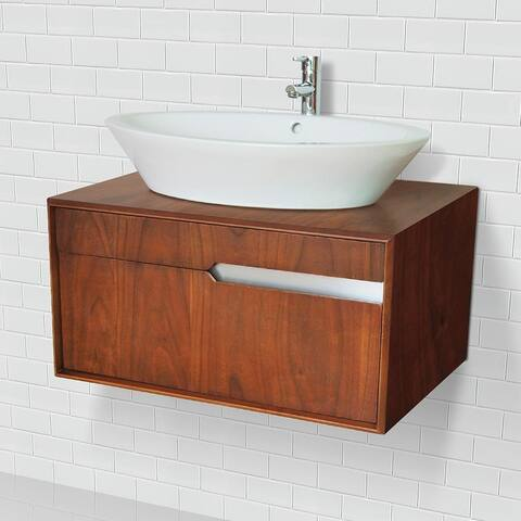 Cityscape Collection Solid Wood Wallmount Vanity in Medium Walnut