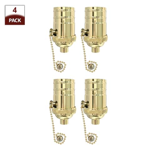 Royal Designs Off/On Pull Chain Lamp Socket with a Solid Metal Cast Shell, E26 Medium Base, Polished Brass, Set of 4