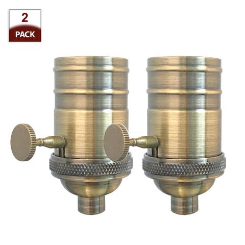 Royal Designs Off/On Turn Knob Lamp Socket with a Solid Metal Cast Shell, E26 Medium Base, Antique Brass Finish, Set of 2