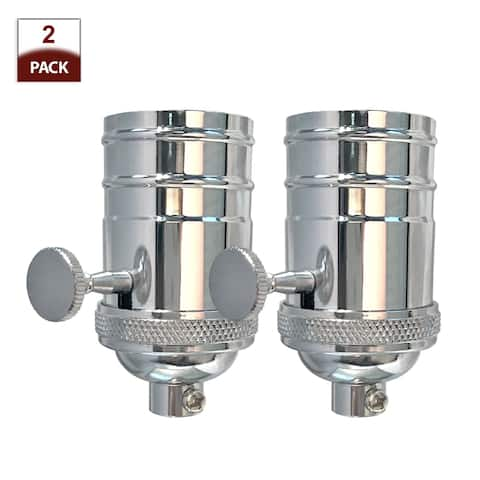 Royal Designs Off/On Turn Knob Lamp Socket with a Solid Metal Cast Shell, E26 Medium Base, Polished Nickel Finish, Set of 2