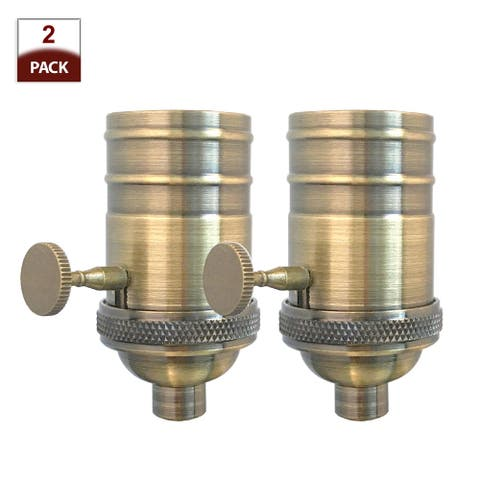 Royal Designs 3-Way Turn Knob Lamp Socket with a Solid Metal Cast Shell, E26 Medium Base, Antique Brass Finish, Set of 2