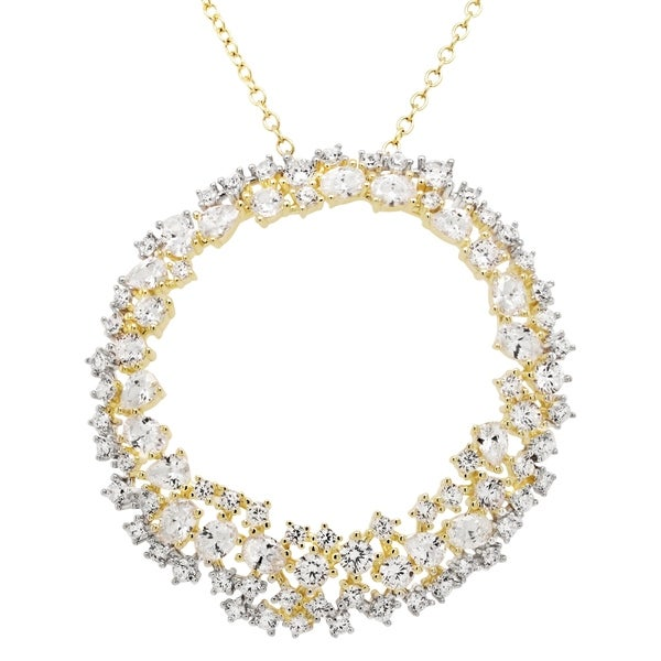 Luxiro Sterling Silver Two-tone Finish Cubic Zirconia Open Circle Pendant Necklace. Opens flyout.