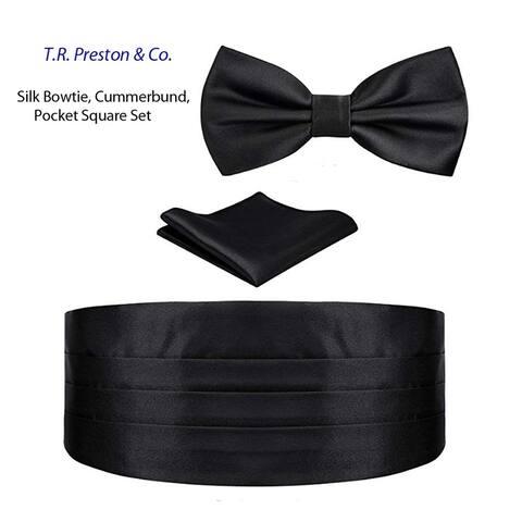 Men's Silk Pre-Tied Bow tie, Cummerbund and Pocket Square Set - One SIze Fits Most