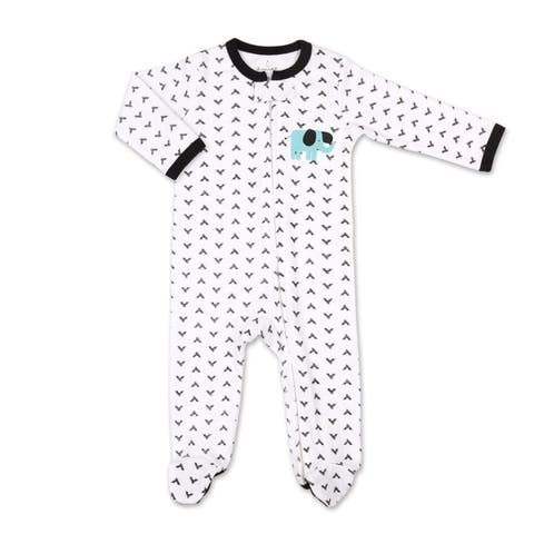 The Peanutshell Safari Story Black Check Elephant Footie-3M