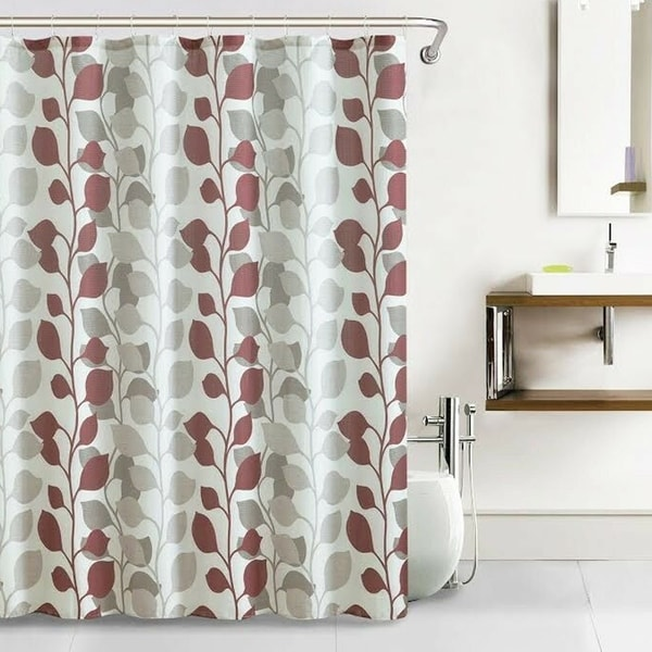 """Polyester Shower Curtain with Hooks Leaf Pattern 72"""" x 72"""". Opens flyout."""