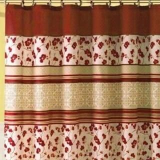 "Polyester Shower Curtain with Hooks Geometric Red 72"" x 72"""