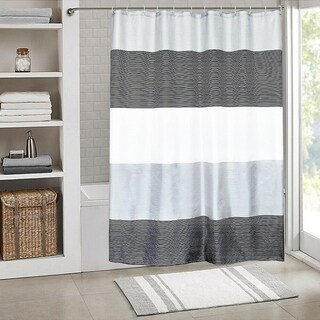 "Link to Polyester Shower Curtain with Hooks Black Stripes 72"" x 72"" Similar Items in Shower Curtains"