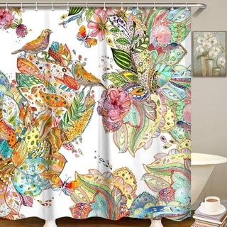 "Polyester Shower Curtain with Hooks Floral Bird 72"" x 72"""