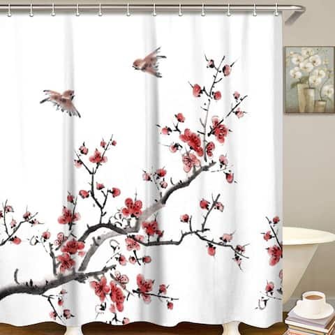 """Polyester Shower Curtain with Hooks Bird Floral 72"""" x 72"""""""