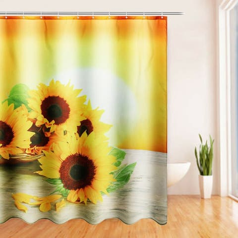 """Polyester Shower Curtain with Hooks Sunflowers 72"""" x 72"""""""