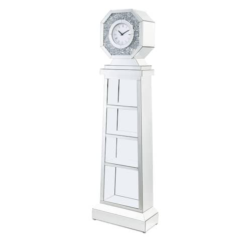 ACME Noralie Grandfather Clock in Mirrored & Faux Diamonds