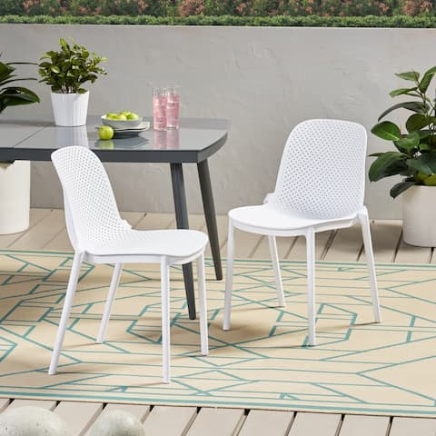 """Ivy Outdoor Modern Stacking Dining Chair (Set of 2) by Christopher Knight Home - 19.50"""" W x 21.50"""" D x 32.00"""" H"""