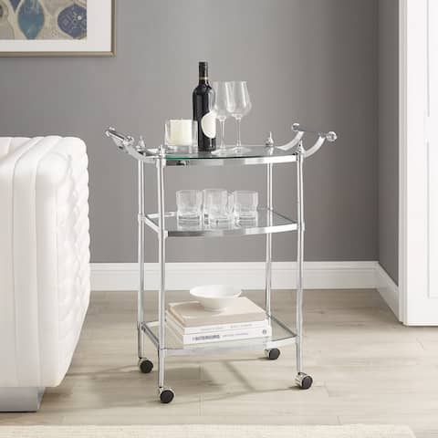 Mayer 3-Teir Chrome and Glass Rolling Serving Cart