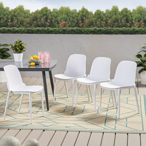 """Ivy Outdoor Modern Stacking Dining Chair (Set of 4) by Christopher Knight Home - 19.50"""" W x 21.50"""" L x 32.00"""" H"""