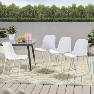 "Link to Ivy Outdoor Modern Stacking Dining Chair (Set of 4) by Christopher Knight Home - 19.50"" W x 21.50"" L x 32.00"" H Similar Items in Patio Dining Chairs"