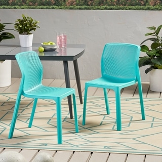 """Labaron Outdoor Modern Stacking Dining Chair by Christopher Knight Home - 19.00"""" W x 22.75"""" L x 32.75"""" H"""