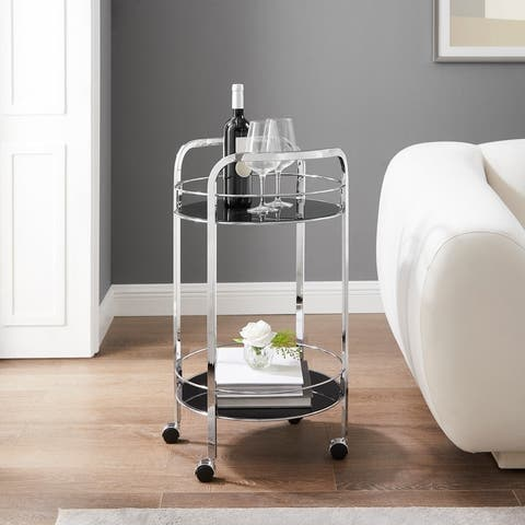 Felix 2-Teir Chrome and Black Glass Rolling Serving Cart