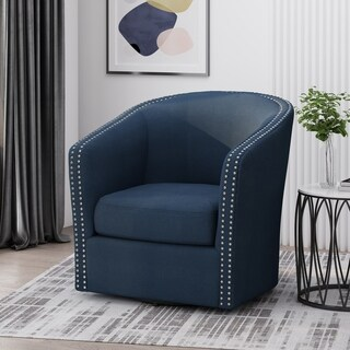 "Link to Maya Contemporary Fabric Swivel Chair by Christopher Knight Home - 30.25"" W x 31.25"" L x 31.25"" H Similar Items in Living Room Chairs"