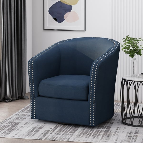 "Maya Contemporary Fabric Swivel Chair by Christopher Knight Home - 30.25"" W x 31.25"" L x 31.25"" H. Opens flyout."