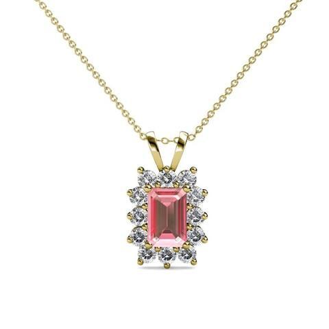 Trijewels Pink Tourmaline Diamond 3/4 ctw Pendant Necklace 14KY Gold