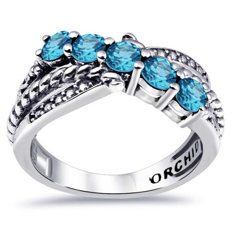 Multi Color Gemstones Sterling Silver Round 5-Stone Ring by Orchid Jewelry