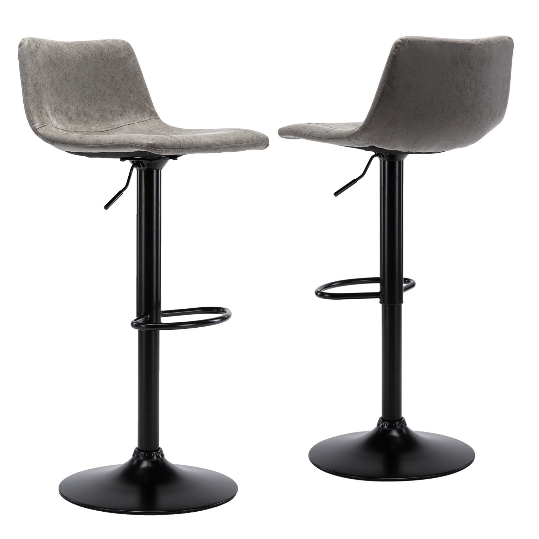 Height Adjustable Barstools Bar Swivel Bar Chairs Vintage Vinyl Leather Set Of 2 Overstock 30878350