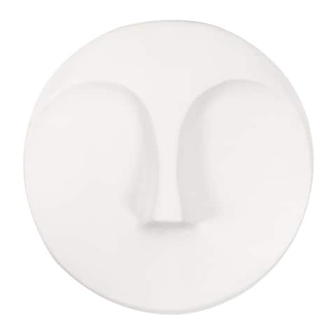 Matte White Round Face Wall Sculpture