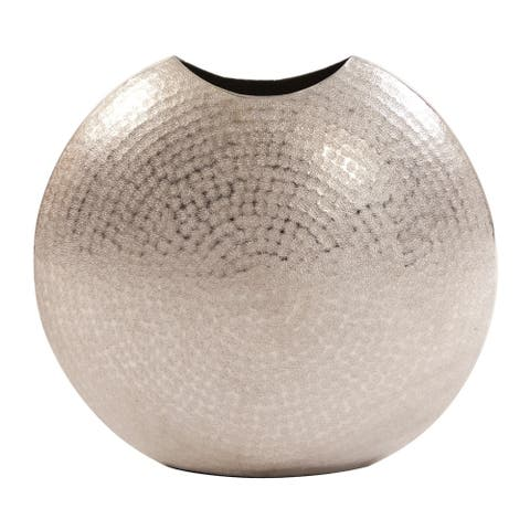 Frosted Silver Metal Vase - Large
