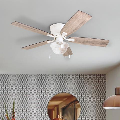 The Gray Barn Marlborough 52-inch Coastal Indoor LED Ceiling Fan with Pull Chains 5 Reversible Blades