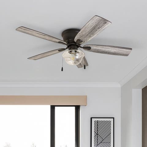 """Prominence Home Lenore, 52"""" Coastal Indoor LED Ceiling Fan w/ Pull-Chains, 5 Reversible Blades, Bronze - 52"""