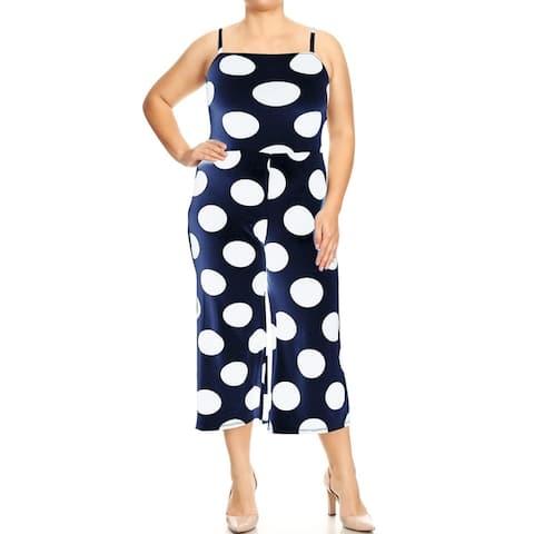 Women's Polka Dot Cami Overalls Square Neck Romper Jumpsuit