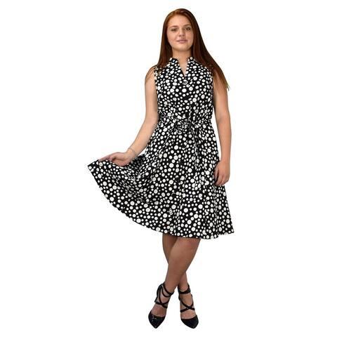 Peach Couture Vintage Retro Button Up A-Line Party Dress with Belt