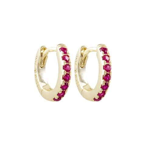 Luxiro Sterling Silver Gold Finish Lab-created Ruby Baby Hoop Earrings