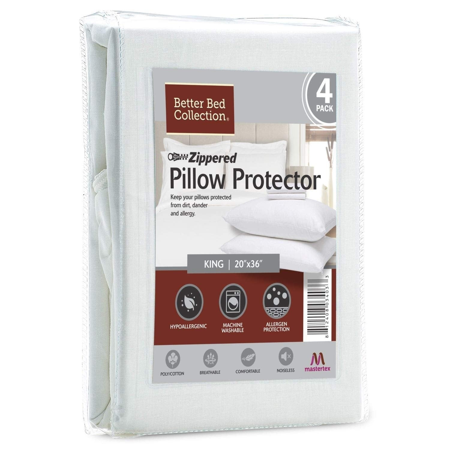Waterproof Hypoallergenic Bamboo//Cotton Zipped Pillow Protector Cases Cover Sham