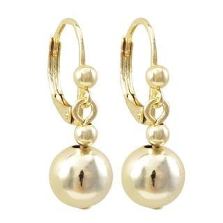 Link to Luxiro Surgical Steel Gold Finish Dangling 8mm Balls Girl's Earrings Similar Items in Children's Jewelry