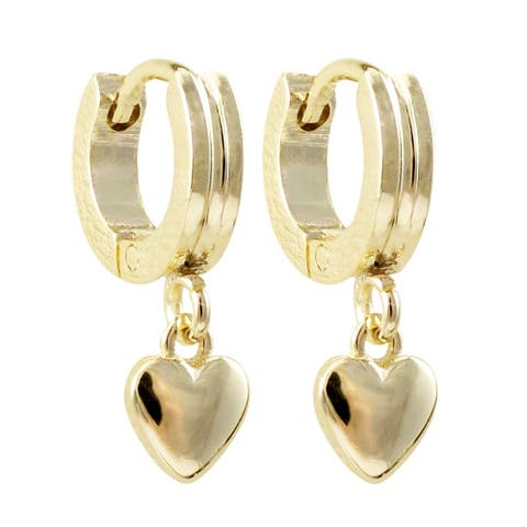 Luxiro Surgical Steel Gold Finish Dangling Baby Heart Huggie Earrings