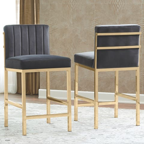 Modern Design Charcoal Velvet and Rose Gold Frame Counter Height Stools (Set of 2)