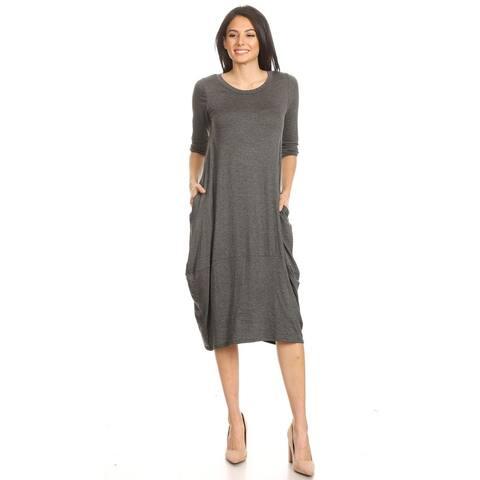 Women's Solid Basic Casual Narrow Hem Cuffed Sleeves Midi Dress