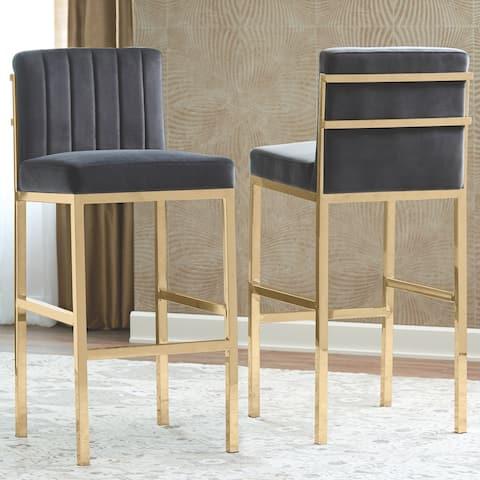 Modern Design Charcoal Velvet and Rose Gold Frame Bar Stools (Set of 2)