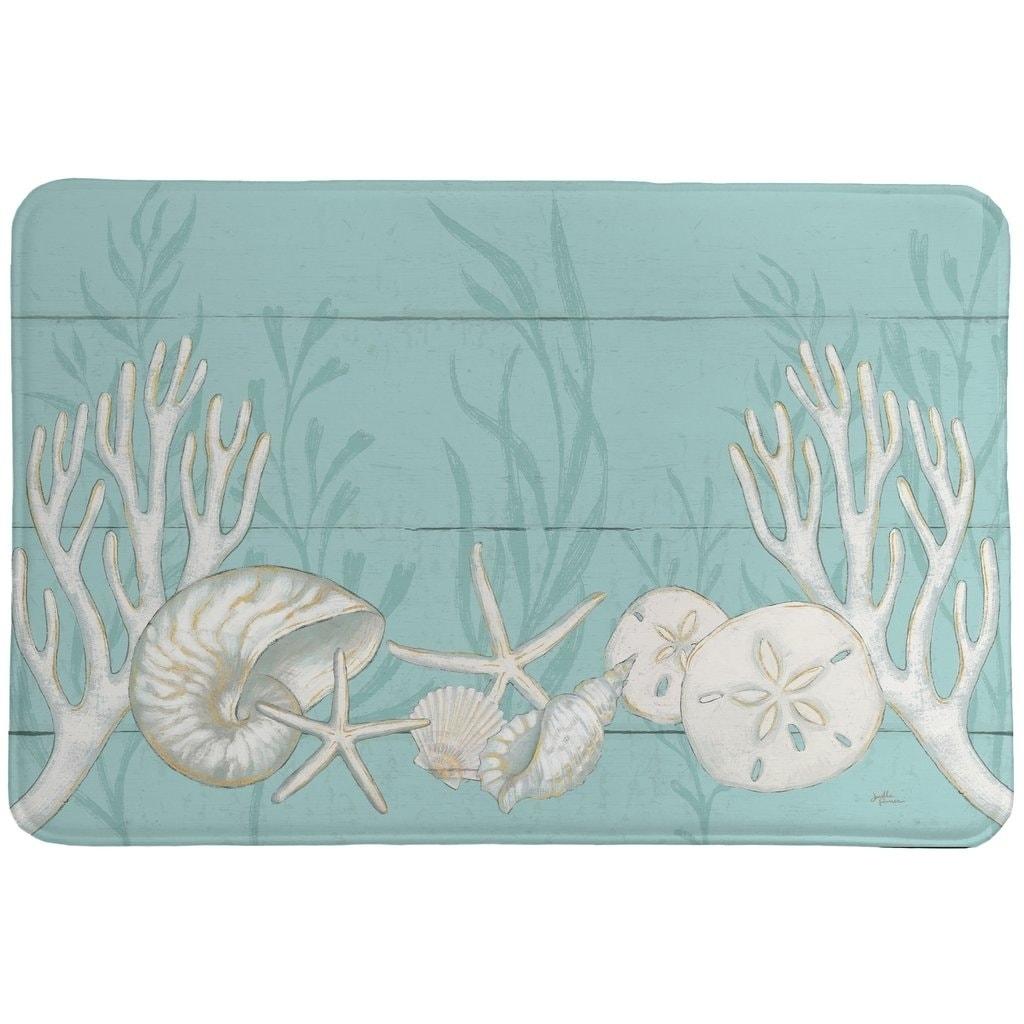 Memory Foam Bathroom Rugs Beach shell Sea Collection Vintage Boho
