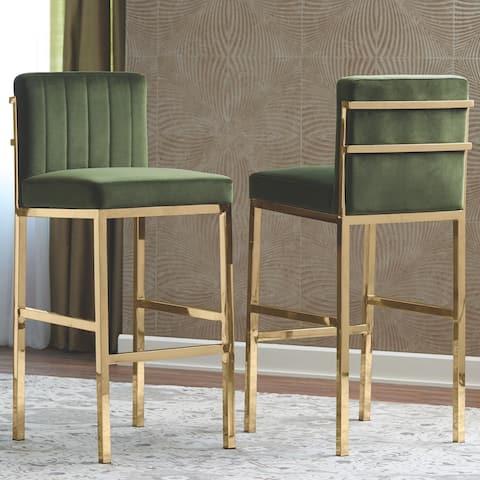 Modern Design Green Velvet and Rose Gold Frame Bar Stools (Set of 2)