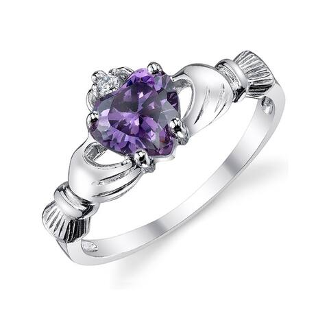 Oliveti Women's Stelring Silver 925 Irish Claddagh Friendship Love Ring Lavender Heart Cubic Zirconia