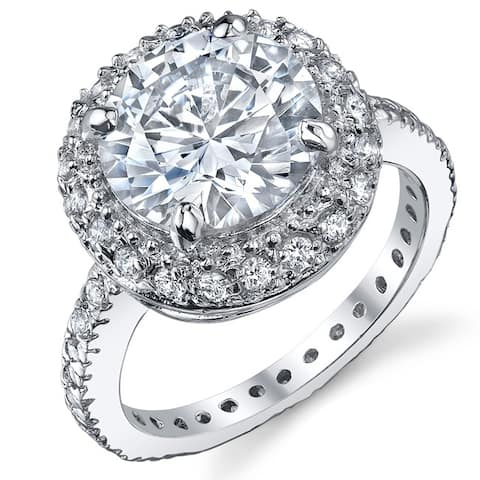 Oliveti Women's 3 Carat Round Brilliant Cubic Zirconia Sterling Silver 925 Engagement Ring Bridal Ring