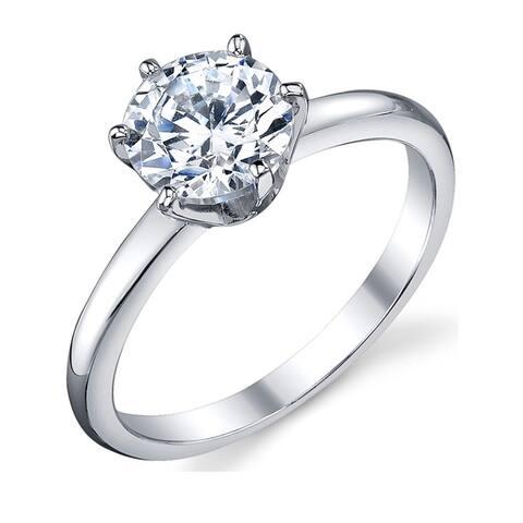 Oliveti Women's 1.25 Carat Round Brilliant Cubic Zirconia Sterling Silver 925 Wedding Engagement Ring Sz 4-11