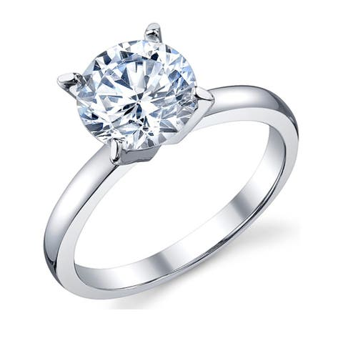 Oliveti Women's 2 Carat Round Brilliant Cubic Zirconia Sterling Silver 925 Wedding Engagement Ring Sizes 4-11