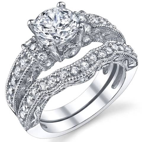 Oliveti Women's 1.25 Carat Solid Sterling Silver Wedding Engagement Ring Set Bridal Ring Cubic Zirconia Sizes 4 to11