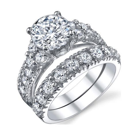 Oliveti Women's Sterling Silver 925 Engagement Bridal Ring Set Cubic Zirconia 1.5ct 8MM
